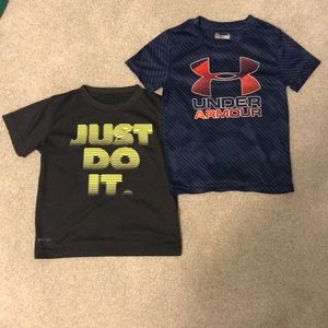 Nike Under Armour Boys Dri Fit Shirts, Size 4 Qty2